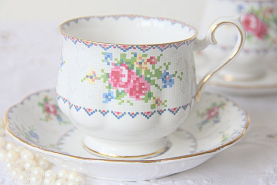 Vintage Royal Albert 'Petit Point' Gentleman Size Cup and Saucer, Petit Point, Forget-Me-Not and Pink Rose Decor, England