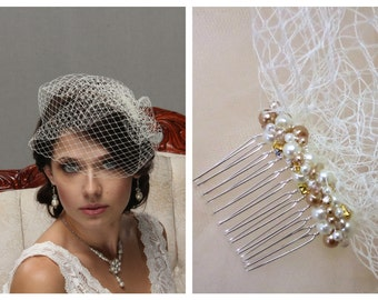 Birdcage Veil, Wedding Veil, Veil with Pearls, Vintage Veil, Bridal Veil, Pearl Headpiece, Fascinator, Bridal Fascinator, Pearl Rhinestone