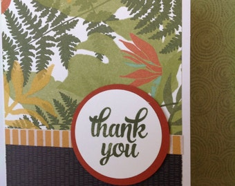 Handmade card- thank you card- ferns-grateful-blank card