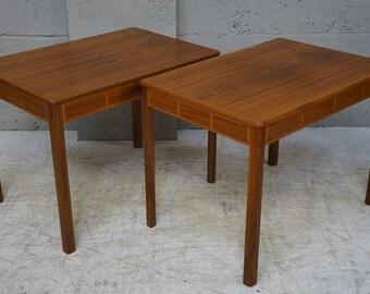 Vintage Pair of Walnut Side Tables
