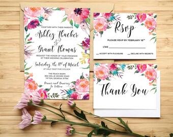 Printable Floral Wedding Invitation, Floral wedding invite, Printable Digital Wedding Invite, Wedding invitation template, Wedding Flowers
