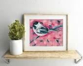 Chickadee 8x10 Art Print, animal art print, bird, modern painting by Sarah Jaynes