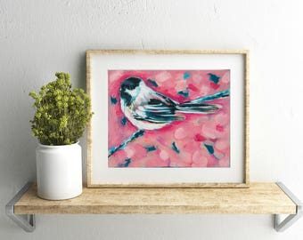 Chickadee 8x10 Art Print, animal art print, bird, modern painting by Sarah Jaynes