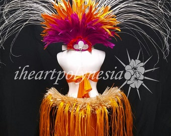 Tahitian costume with reversible head piece