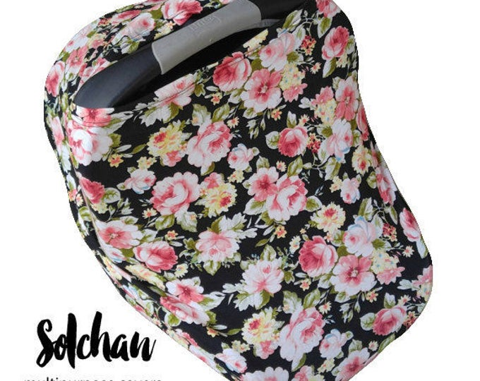 Stretchy Car Seat Cover/Nursing Cover by Solchan || Multiuse Stretch Baby Carseat Cover, girl canopy floral flowers black