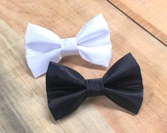 Satin Wedding Dog Bow, Black dog bowtie, White dog bowtie, wedding dog bowtie