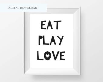 Modern Eat Play Love Printable - Black and White Nursery Decor - Playroom Decor - Kids Room Decor - Modern Minimal Nursery - Eat Play Love