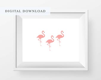 Pink Flamingos Print, Printable Art, 3 Flamingos Wall Art Print, Minimal Flamingo Wall Art, Modern Flamingo Print, Nursery Decor, Home Decor