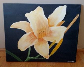 Original Acrylic Yellow Flower Canvas