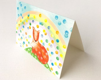 Blank Postcard with envelope, Cute Fox, A6 Animal Postcards, Kids Birthday Card, Rainbow, Bubbles, Original Art
