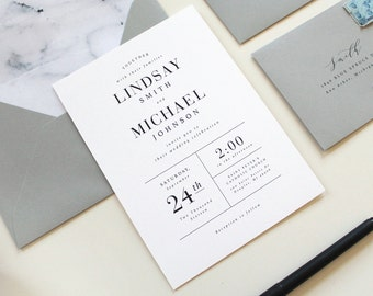 Modern Wedding Invitations, Modern Marble Wedding Invitation, Simple Wedding Invitations, black and white invite, Marble envelope liner