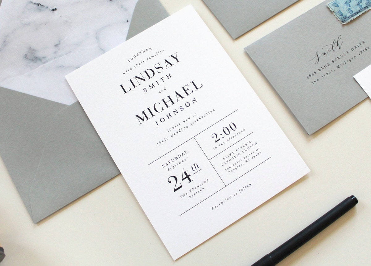 Modern wedding invitations modern marble wedding invitation for Order in wedding invitation envelope