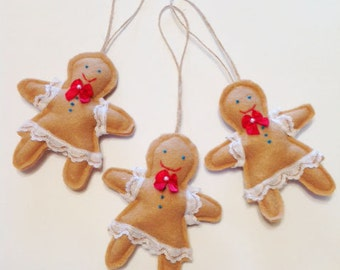 Christmas Ornaments,Set of 3,Felt Gingerbread Girls,Christmas Decoration,Felt Ornaments,Christmas Decor,Gingerbread Ornament CTO146