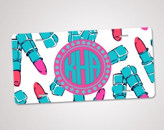 Monogram License Plate, Personalized License Plate, Custom Car Tag, Monogram Front Plate, Personalized Car Tag, Lilly Pulitzer Inspired