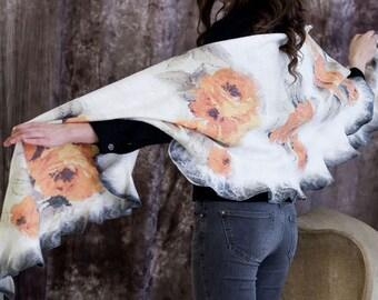Cream Beige Yellow Fashion silk wool nuno felted stole shawl. High fashion ware. Wool felt stole wrap. Unique gift for her