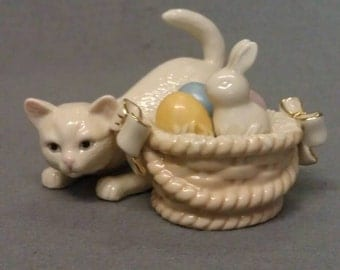Lenox Beige Cat with Rabbit in Basket of Eggs Figurine