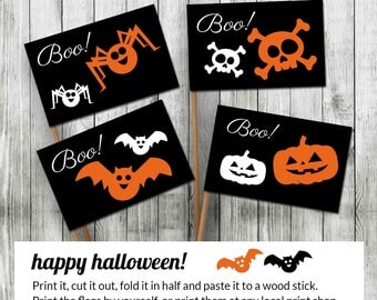 Halloween printable decor Party FLAGS - Halloween sign - Printable Cupcake topper with MONSTER ORANGE