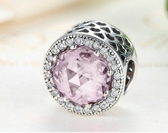Sterling silver charm bead cubic zirconia fits pandora charms and European bracelet pink