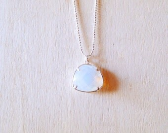 White Faceted Triangle Glass in Silver. Elegant and simple Silver Necklace. Fantasy Necklace