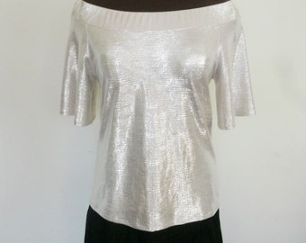 Silver Off Shoulder Jersey Top, Short Bell Sleeve Top, Ladies' Silver Blouse - Made to Order