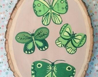 Green Butterflies Wood Slice