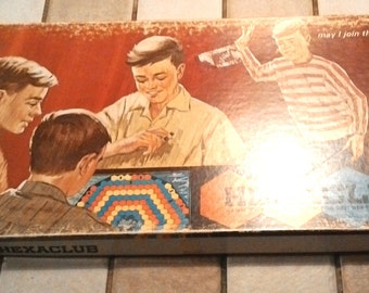Vintage Hexaclub board game 1964 very rare complete with instruction