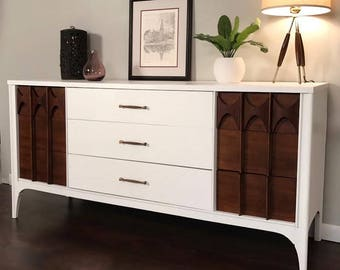 SOLD - Mid Century Dresser, Kent Coffey Perspecta, Mid Century Modern Credenza, Sideboard, Pencil Leg, Walnut, Hand Painted, Benjamin Moore