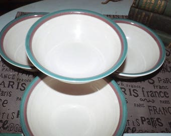 Vintage (c.1980s) and RARE Pfaltzgraff PFA100 cereal, soup, or salad bowl. Lavender and teal or green bands. Made in USA.
