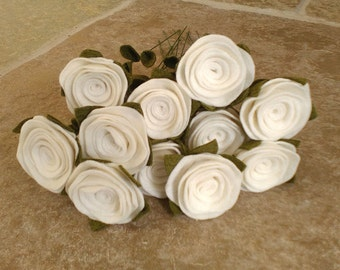 Dozen roses, felt roses, felt flower bouquet, cream roses, cream flowers, romantic gift, Valentine's roses, Valentine's Day, Valentine roses