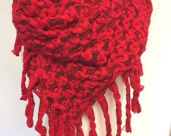 Red Scarf, Fringed Scarf, Crochet Scarf, Knitted Scarf, Valentine gift, Gift For Her, Color Options
