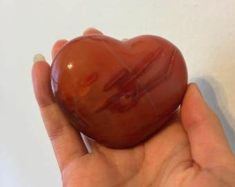 A Energetic Puffy Carnelian Heart for Opening of the Heart, Passion & Courage