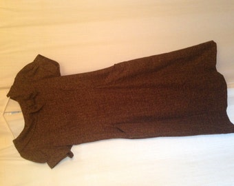 1960s Brown Vintage Woven Pencil Dress With Pockets