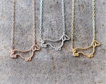 Dachshund Necklace, Wiener dog necklace, Dog lover necklace, Silver Dachshund Jewelry, Gold Dachshund Necklace, Doxie necklace