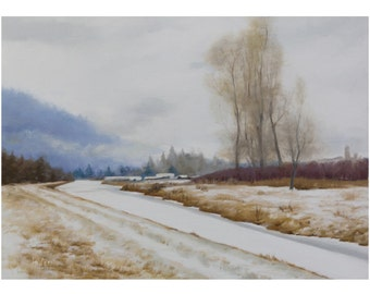 Oil Landscape Painting, 9x12 inches, Oil on canvas, Winter snow Painting, Handmade art