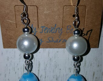 Easter Egg and Pearl Dangle Fish Hook Earrings