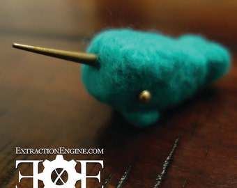 Mini Needle Felted  Narwhal in Teal with antiqued brass details