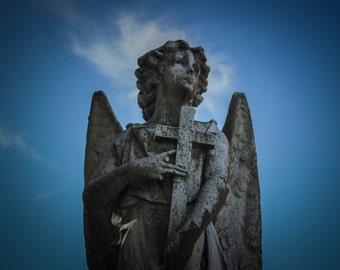 Cemetery Stone Angel Statue Photography - Graveyard - Memorial - Kentucky - Gothic - OOAK