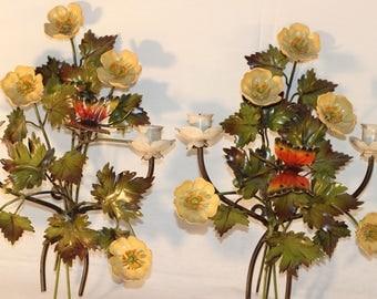 Vintage Tole Metal Floral Candle Sconces
