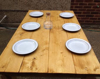 6 seat Dining table with 2 benches reclaimed wood pine