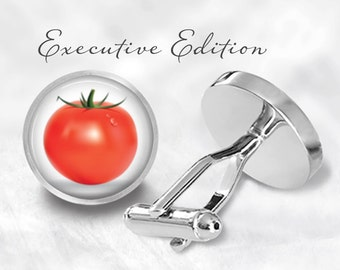 Ripe Tomato Cufflinks - Tomato Cuff Links - Fruit Cufflink (Pair) Lifetime Guarantee (S0230)