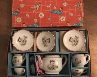 RARE Play Toy Tea Set Porcelain 17 Piece with Original Box No 1001/6362B