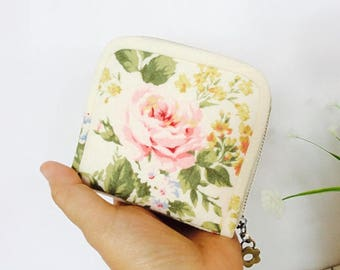 Small wallet for women, Rose wallet, Handmade fabric wallet, Pink rose wallet, Short wallet, Credit card wallet, Coin purse, Gift for her