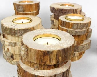 Rustic wedding decoration, set of 12 rustic wood candle holders, handmade with natural wood slices