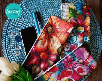 Pencil case Flowers small cosmetic bag or makeup bag pouch with zipper by Marika Lemay artist