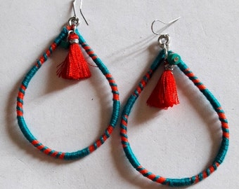 Thread wrapped Tear drop shaped Turq and Red Tassel Earring