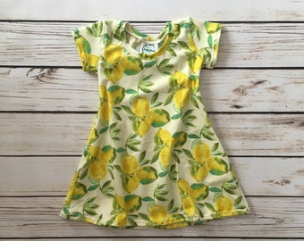 Lemon Swing Dress // baby lemon dress // toddler lemon dress // swing dress // stretchy dress // play dress // gift idea