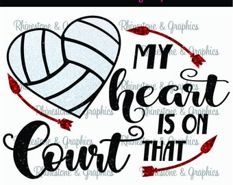 My Heart is on That Court Volleyball l Heart Pattern Instant Download SVG EPS DXF Cutting file