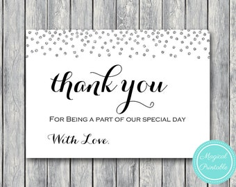 Silver Confetti Wedding Thank you cards, Thank you notes, Wedding Favor Cards, Shower Favors, Bridal Shower Thank you cards, WI49 TH63