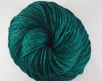 Hand Dyed DK Yarn, hand dyed wool, variegated DK yarn, nylon DK yarn, green