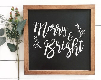 """14""""x14"""" Merry & Bright Christmas Wood Sign 